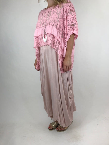 Lagenlook Lace Poncho Top in Almond Pink.code 1452