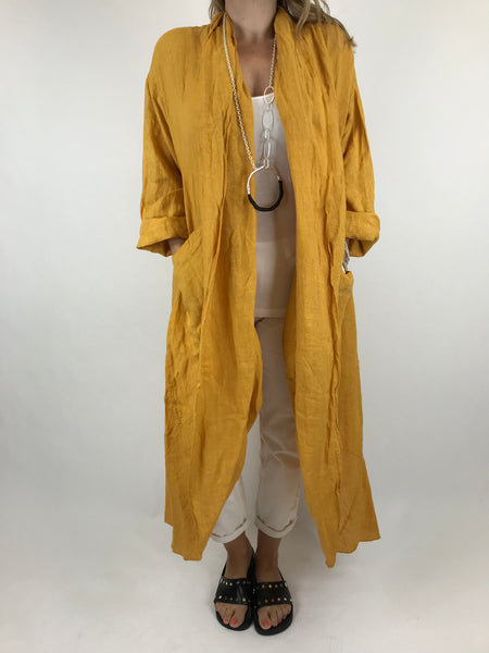 Lagenlook Patti Linen Jacket in Mustard. code 5876