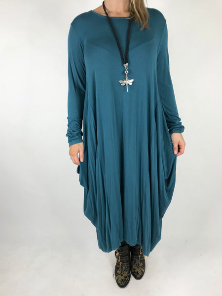Lagenlook Tilly Long Jersey Tunic in Teal. code 1553