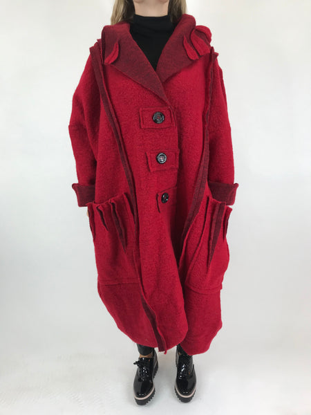 Lagenlook Felt Boho Oversized Coat in Red. code 5555