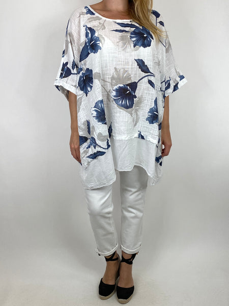 Lagenlook Ami Flower Cotton Top in White. code 89425