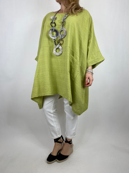 Lagenlook Maya Summer Top in Lime. code 8365