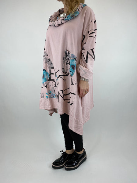 Lagenlook cowl sweatshirt 30+ plus in Pale Pink . code 10256