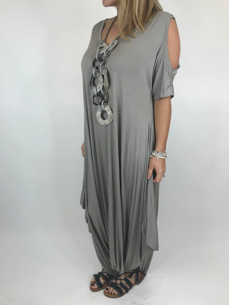 Lagenlook Made in Italy Jersey Jump Suit in Mocha. code 1544
