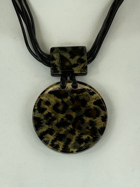 Lagenlook Animal Print Pendant in Brown Short Necklace .Code 730a-1