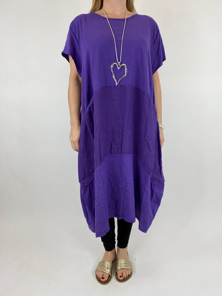 Lagenlook Layla Linen Panel Tee Tunic in Purple. code 90301