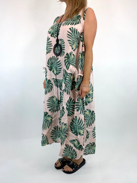 Lagenlook Beverly Palm Leaf Print linen Tunic in Pale Pink. code 6978