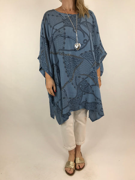 Lagenlook Chain Print Poncho Top in Denim. code 7288