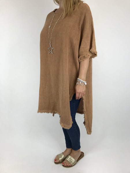 Lagenlook Cala Cotton Raw Edge Top in Camel. code 02035