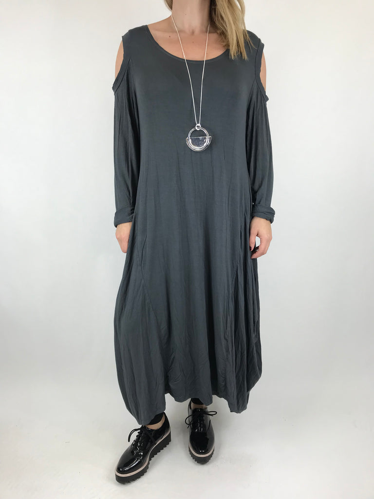 Lagenlook Alley Cold Shoulder Tunic in Charcoal. code 1025