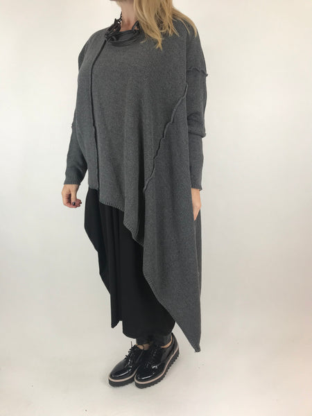 Lagenlook Collins Asymmetrical layering tank in Charcoal. Code 1836