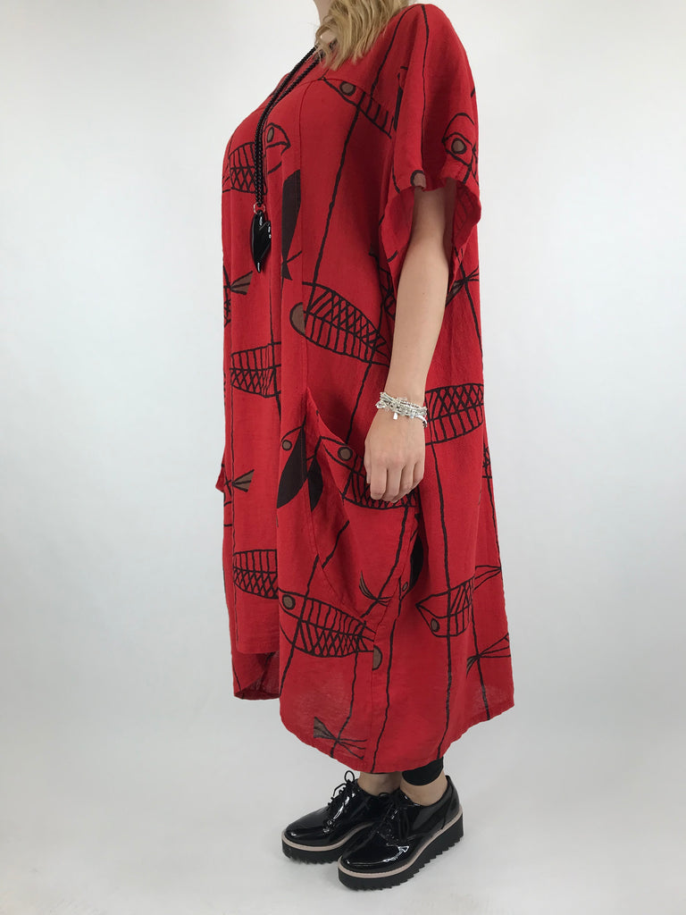 Lagenlook Linen Blend Quirky Patterned Tunic in Red. code 39113