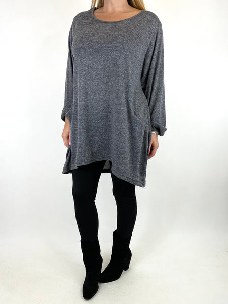 Lagenlook Made In Italy Alps Top in Mid Grey. code 7476