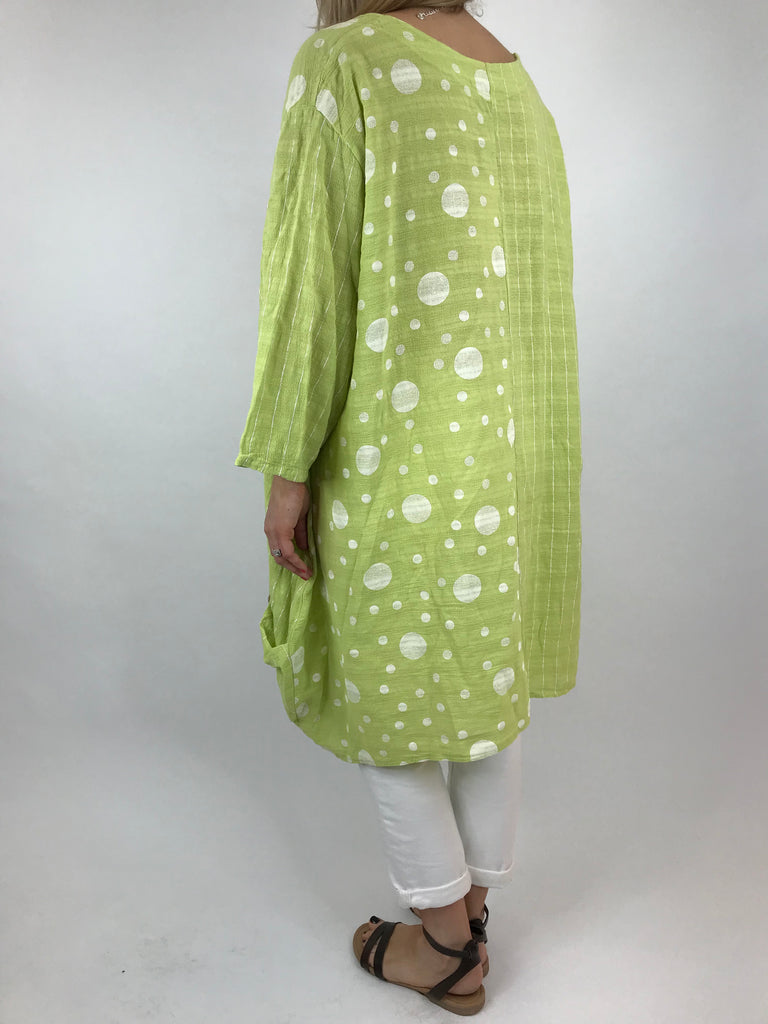 Lagenlook Zella Dot and Stripe Top in Lime. code 90257