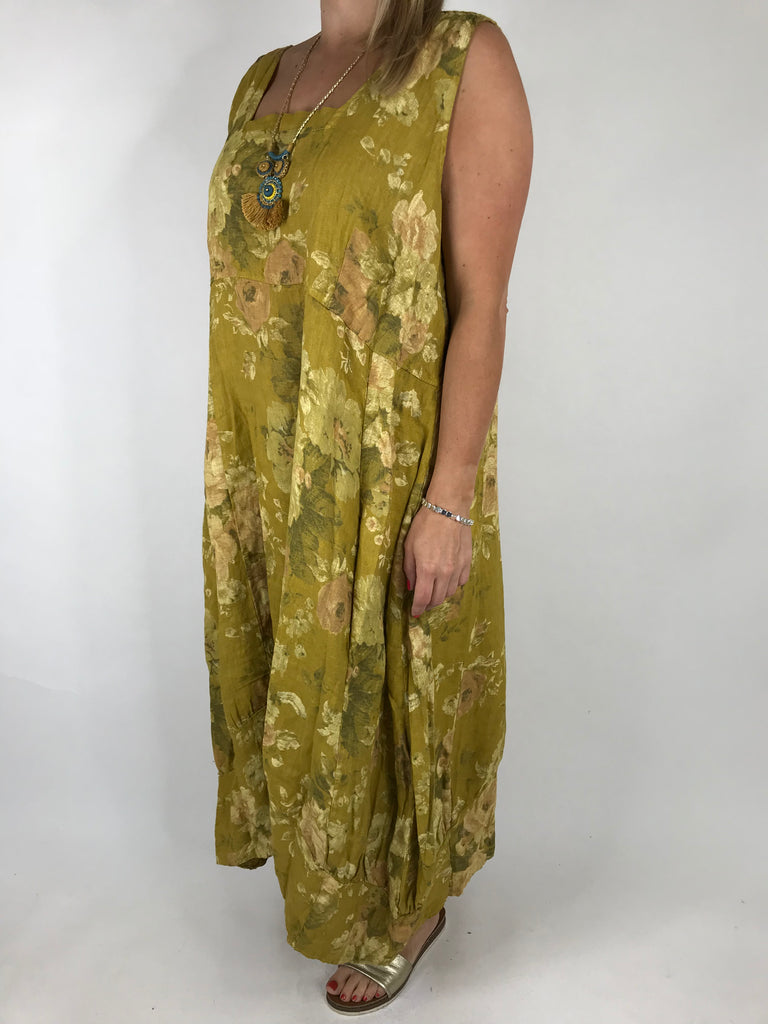 Lagenlook Emily Square neck linen Flower Print Dress in Mustard. code 5697