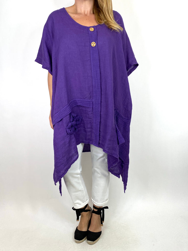 Lagenlook Tara 2 Button Linen Waffle Top in Purple .code 91085