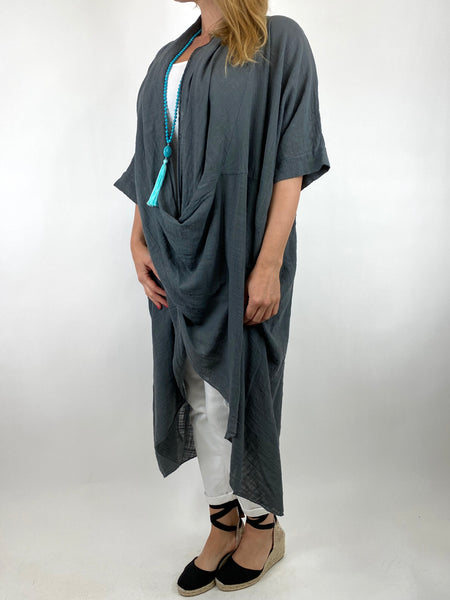 Lagenlook Cotton Wrap Dress Top in Charcoal Grey. code 8307
