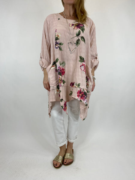 Lagenlook Cotton Flower panel top in Pale Pink. code 92201