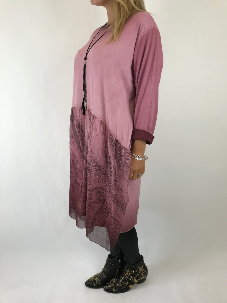 Lagenlook Demi Feather Necklace Tunic In Wine. code 5440