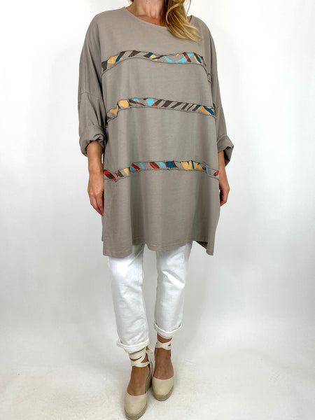 Lagenlook Banks Stripe sweatshirt Top in Mocha. code 10317