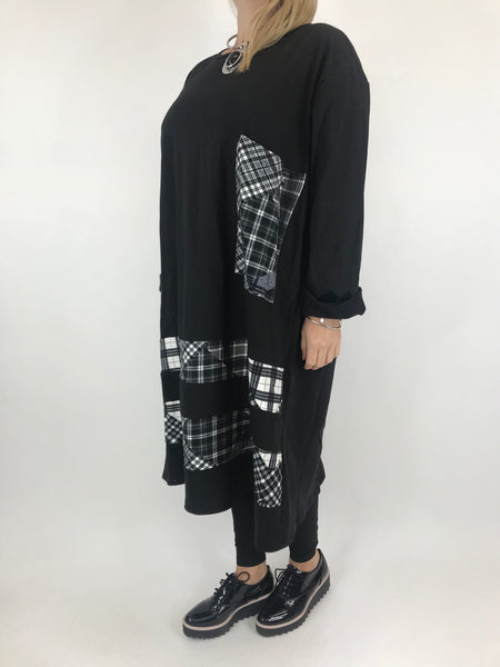 Lagenlook Arielle Pocket Check Tunic in Black. code AB616