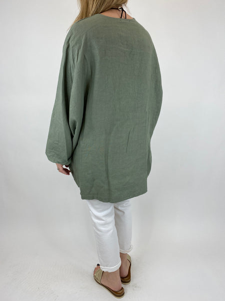 Lagenlook Ava Linen V- Neck Top in Khaki. code 10297