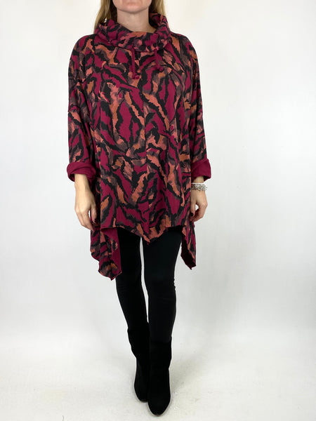 Lagenlook Animal Print Cowl Top in Wine code 50002