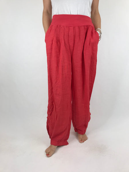 Lagenlook Hetty Button Linen Trousers in Coral. code 5028