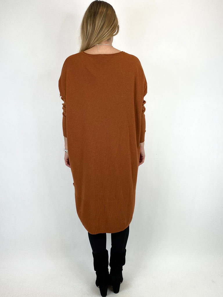 Lagenlook Patsy Button tab detail jumper in Rust. code 2566