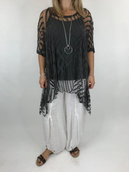 Lagenlook Lazer Cut Net Layering Top in Charcoal.code 18042