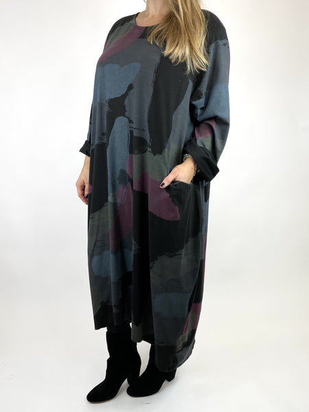Lagenlook Elin Paint Splash Print Tunic in Black. code 9807 - Lagenlook Clothing UK