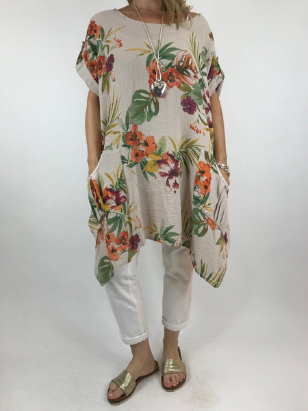 8669523383 Lagenlook Mija Flower Cotton Top in Cream. code 18295 ...