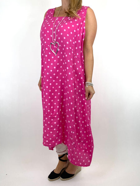 Lagenlook Taylor Linen Polka Dot Square neck tunic in Fuchsia. code 8262PD - Lagenlook Clothing UK