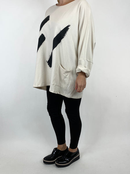 Lagenlook Erika Oversized Cotton Paint Splash Top in Cream. code 91093 - Lagenlook Clothing UK