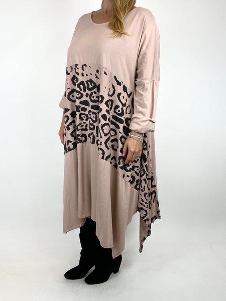 Lagenlook Chrissy Cheetah Panel Tunic in Winter pink. code 10356 - Lagenlook Clothing UK
