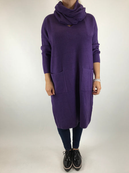 Lagenlook Molly Snood knit in Purple. code 6002