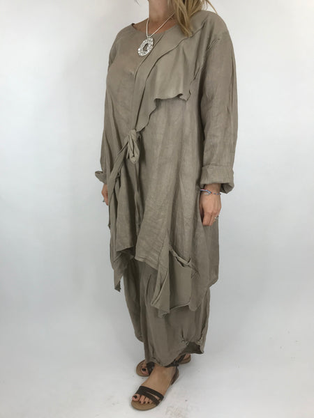 Lagenlook  Linen Quirky Tie Front Top in Mocha. code 5670