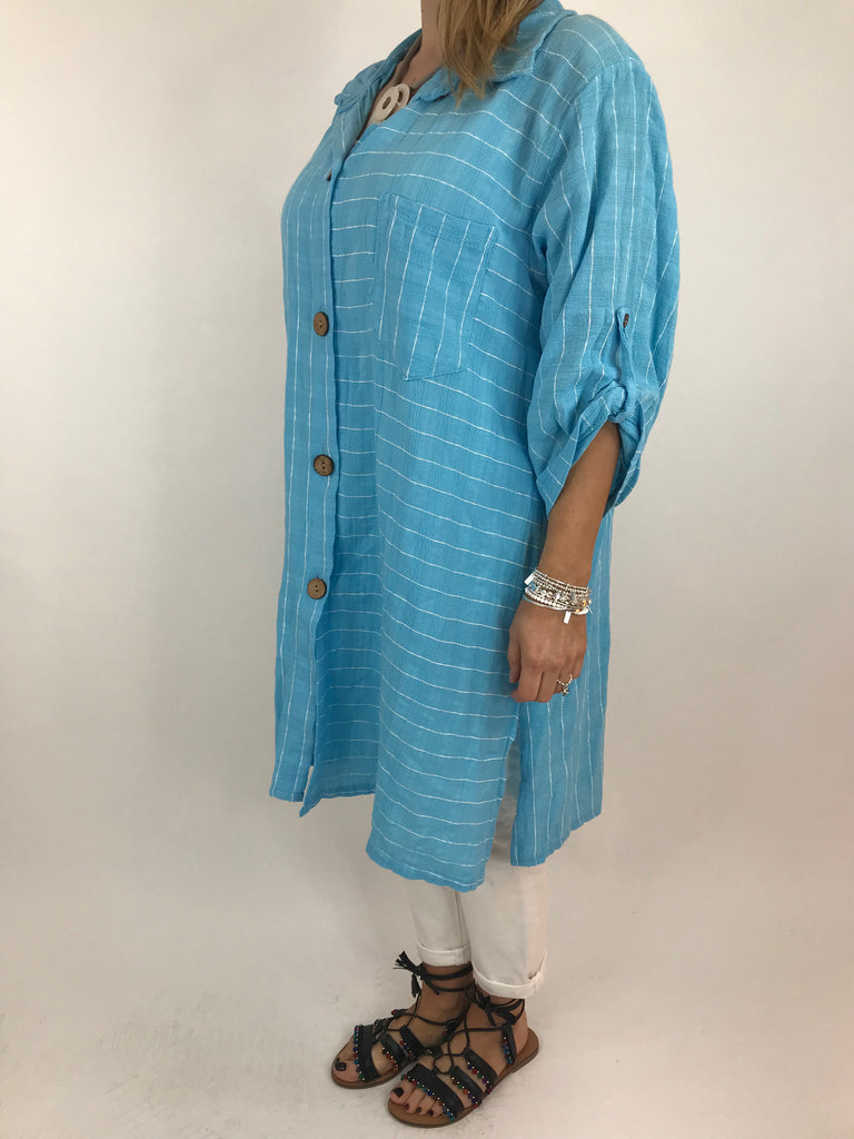 Lagenlook Dele Cotton Shirt in Aqua Blue. Code 90873