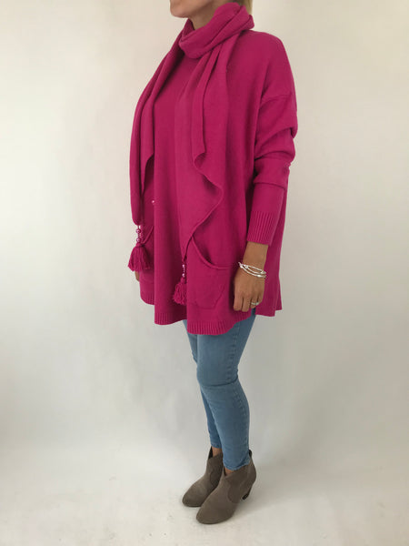 Lagenlook Made in Italy Bella Scarf Jumper in Fuchsia. code 5407
