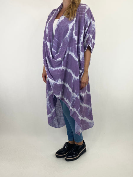 Lagenlook Cotton Tye-Dye Wrap Top in Lavender. code 8308 - Lagenlook Clothing UK