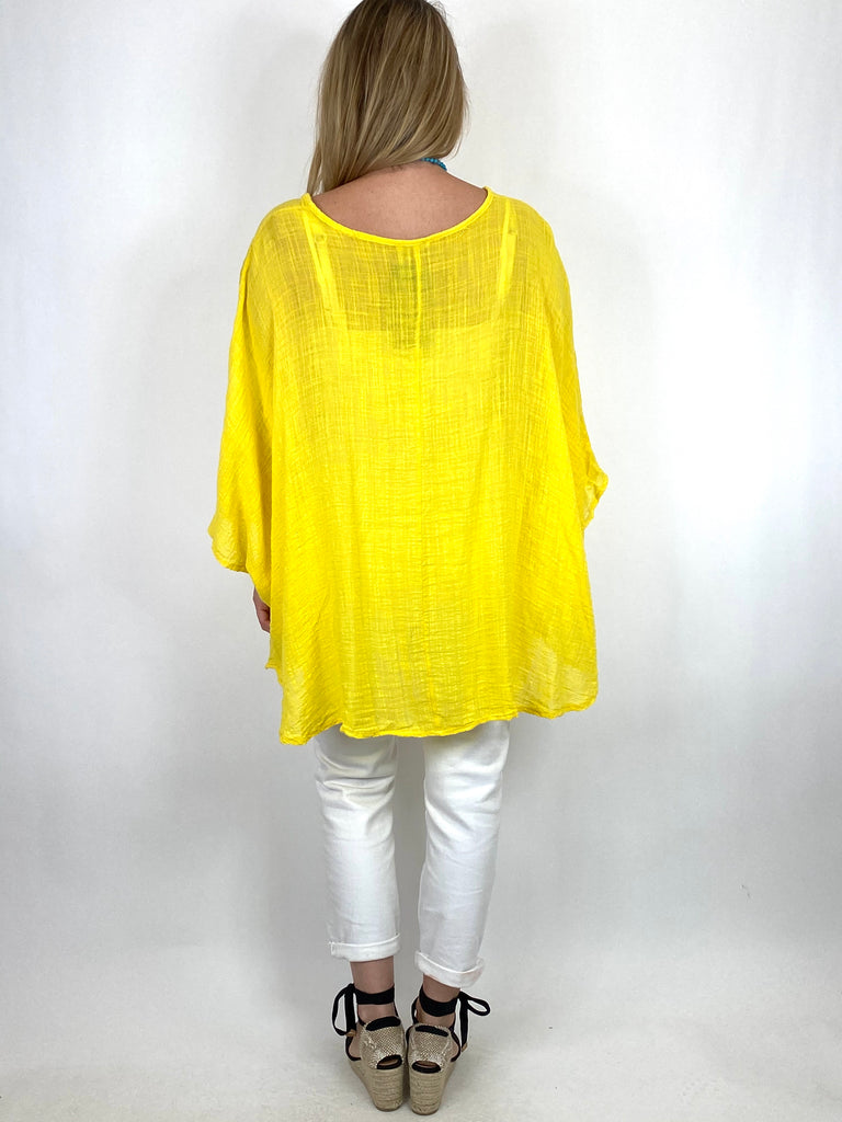 Lagenlook Miller Cotton Mix Wrap Top in Yellow. code 9100 - Lagenlook Clothing UK
