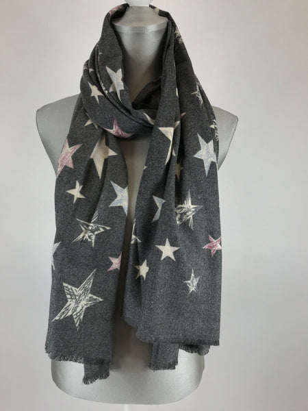 Lagenlook Cashmere Blend Star Scarf in Charcoal. Code 1805