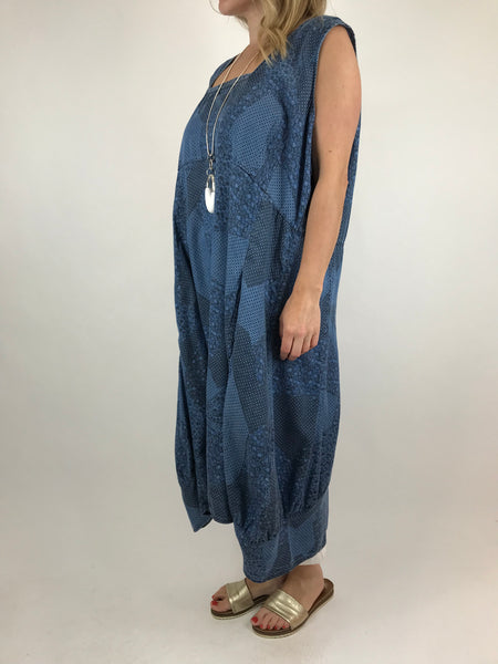 Lagenlook Square neck Long Printed Tunic in Light Denim . code 5743