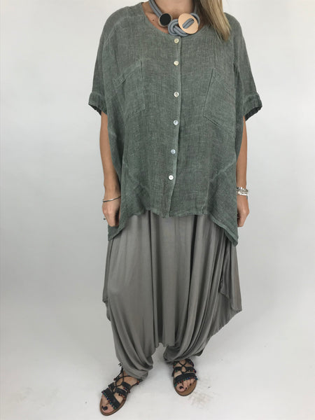 Lagenlook suzie button summer Top in Khaki. code 01065