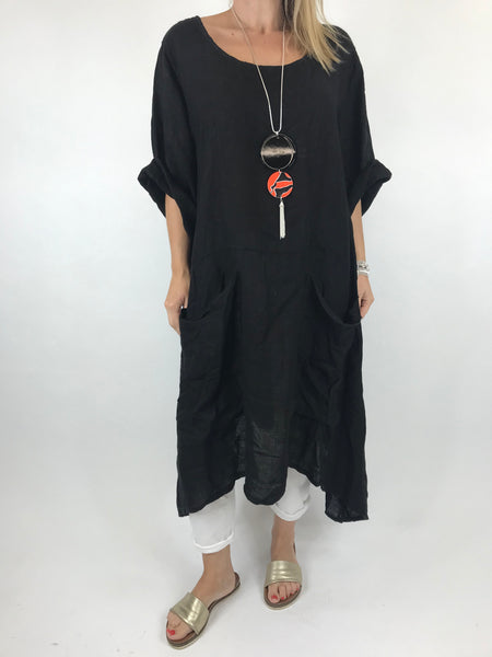 Lagenlook Misha Linen Tie back Tunic in Black. code 20511