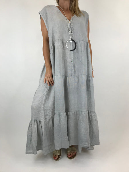 Lagenlook Kate Sleeveless Button Front Linen Tunic in Pale Grey.code 20529