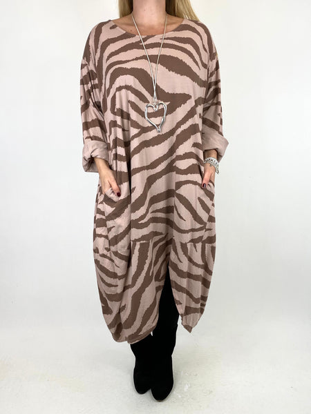 Lagenlook Zebra Print Tunic in Winter Pink. code 10434