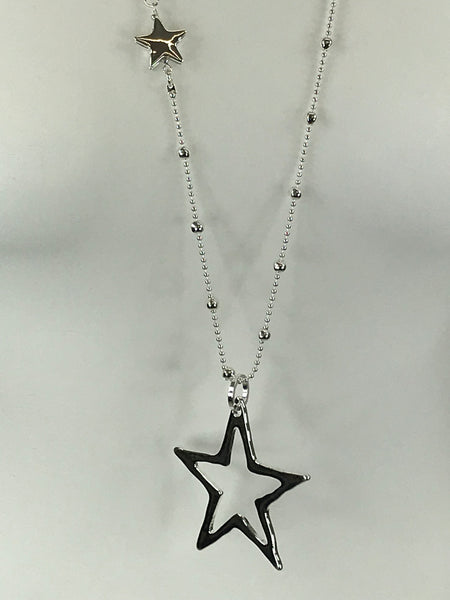 Lagenlook Cut -Out Star with Mini Star Necklace .Code N253