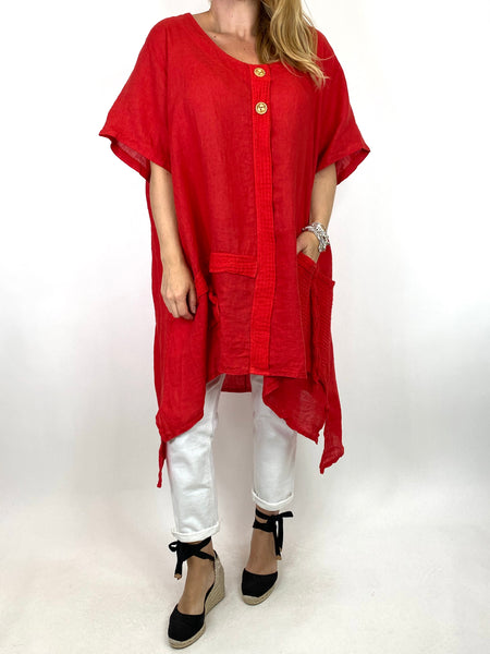 Lagenlook Tara 2 Button Linen Waffle Top in Red .code 91085