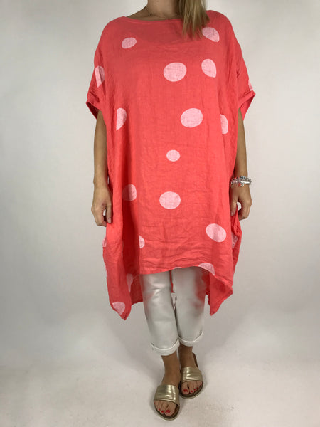 Lagenlook Lara  Dot Linen Tunic in Coral .code 5868